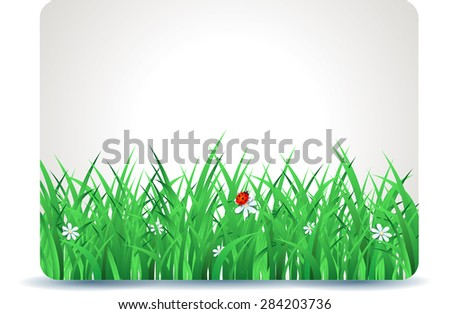 Spring signboard with grass, vector illustration  - stock vector