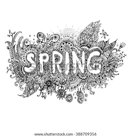 Spring sketchy doodles decorative floral ornamental elements and lettering. Vector hand draw illustration in the style of boho,  black and white version - stock vector