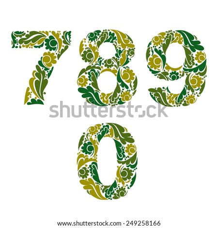 Spring style vector digits set, numbers with eco floral ornament. 7, 8, 9, 0. - stock vector