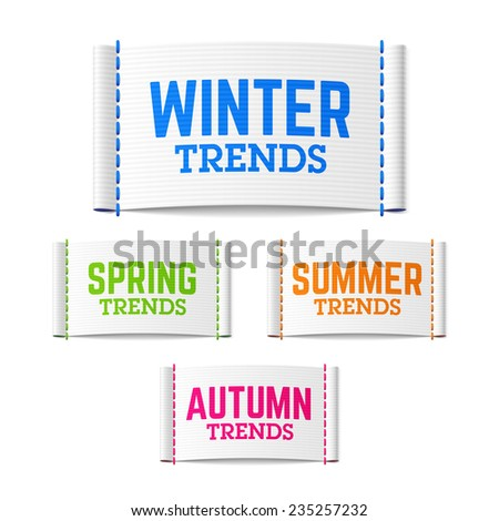 Spring, summer, autumn (fall) and winter trends labels. Vector. - stock vector