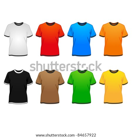 spring/summer/autumn t-shirts in different colors vector illustration