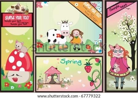 Spring Summer cards. - stock vector