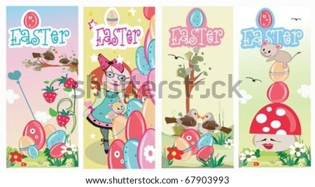 Spring Summer Cards and Easter. - stock vector