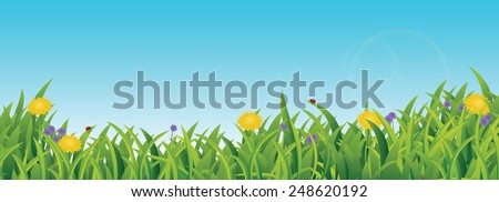 Spring / Summer Scene, with grass, flowers, blue sky, copy space and ladybugs - stock vector