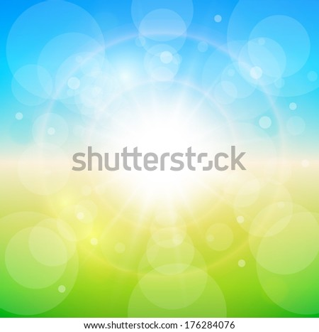 Spring sunny background, blue sky with glaring sun. - stock vector