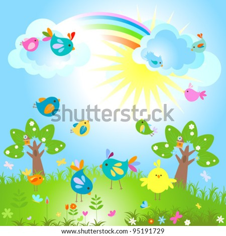 spring sunny day with cute birds - stock vector
