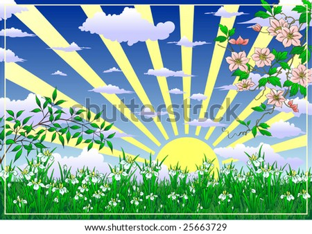 Spring sunny Meadow landscape of vector illustration - stock vector