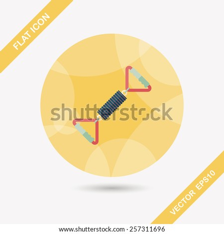 spring tension fitness equipment flat icon with long shadow,eps10 - stock vector