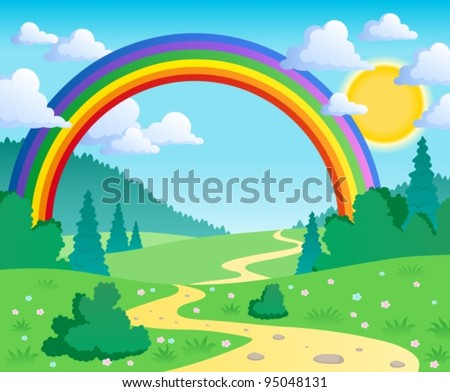 Spring theme landscape 2 - vector illustration. - stock vector