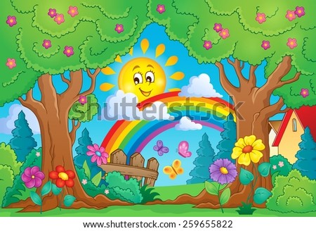 Spring theme with rainbow - eps10 vector illustration. - stock vector