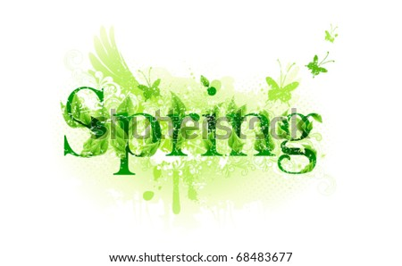 Spring time label - stock vector