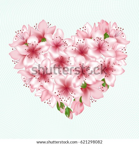 Spring tree blossom flowers heart vector illustration. Japanese cherry, peach or apple tree blossom flowers vector. Floral heart love symbol. Flowers and buds graphic design. Pink blooming elements.