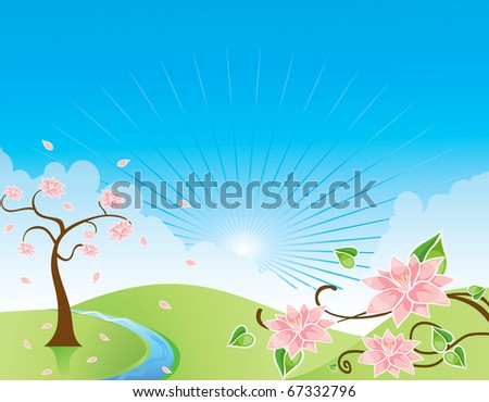 spring tree blue sky bird vector flower, river clouds, - stock vector