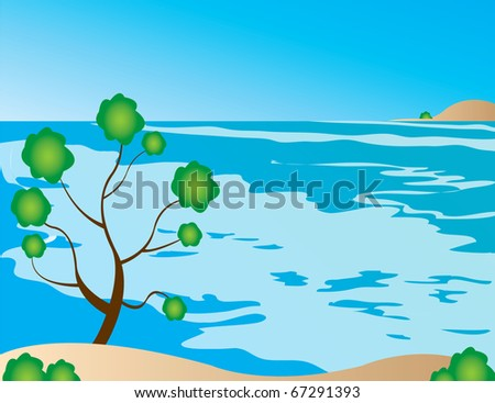 spring tree blue sky bird vector rainbow - stock vector