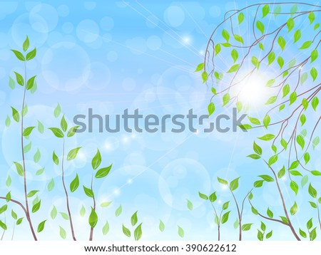 spring tree, blue sky, bright sun, spring background, vector illustration - stock vector