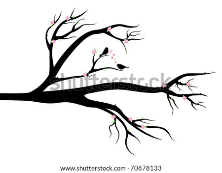 Spring Tree with birds in love on it. Early leaves, flowers and love - stock vector