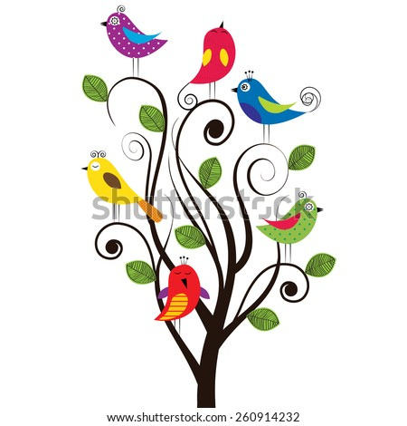 Spring tree with colorful and funny birds - stock vector