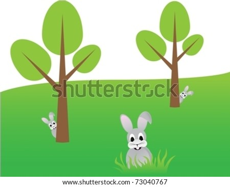 Spring tree with egg shapes and rabbits eps10 - stock vector