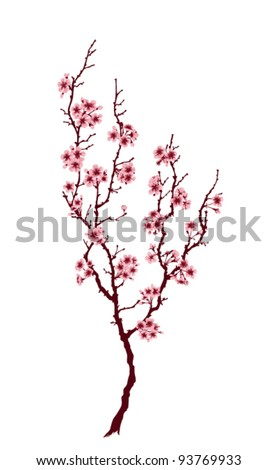 Spring tree with pink blossoms on white background - stock vector