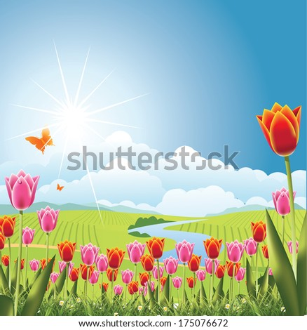 Spring tulips with stream and fields background EPS 10 vector, grouped for easy editing. No open shapes or paths. - stock vector