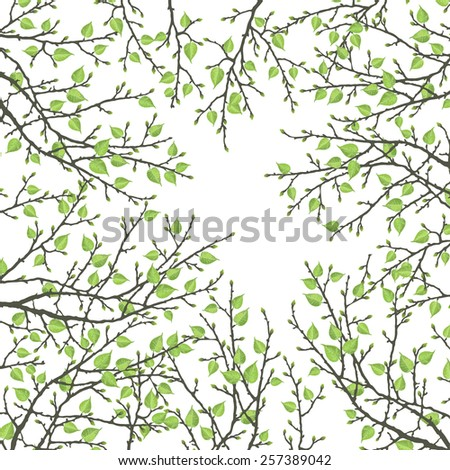 Spring twig tree on a white background. Stylish spring background with a place for text, good for cards, invitations - stock vector