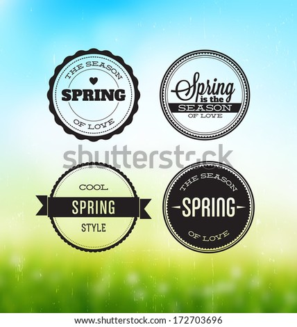 Spring Typographic Labels Set - stock vector