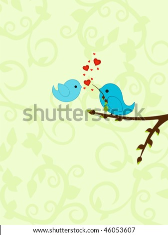 Spring Valentine's background with delicate design and birds in love - stock vector