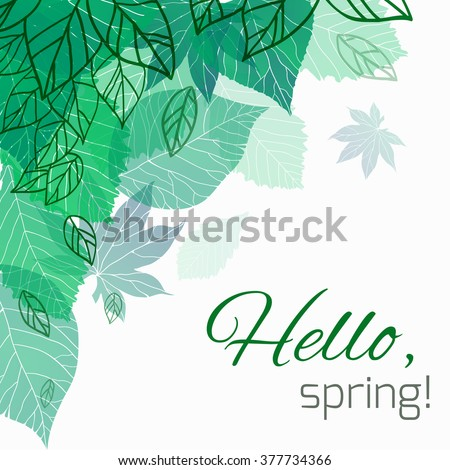 Spring vector card with doodle and green leaves for postcard, flyers, brochures and your business - stock vector