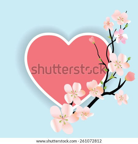Spring vector floral background with sakura branch and heart - stock vector