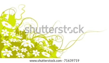 spring vector flowers and green land, there is a lot of white daisies. The image is in bottom left angle of the page