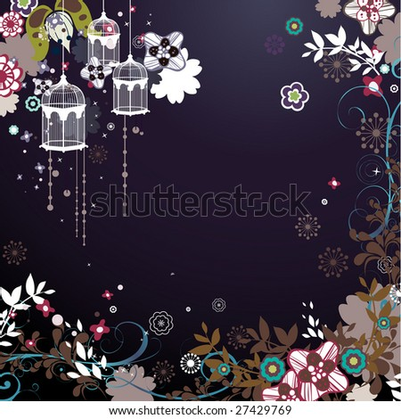 Spring vector pattern with colorful flowers and bird cage - stock vector