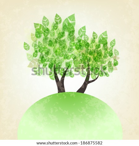 spring vector tree with green leaves - stock vector