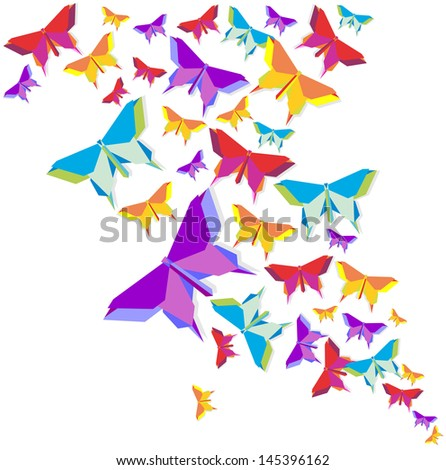 Spring vibrant colors origami butterfly composition. Vector illustration layered for easy manipulation and custom coloring. - stock vector