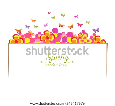 spring with flower and butterfly banner