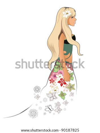Spring woman - stock vector