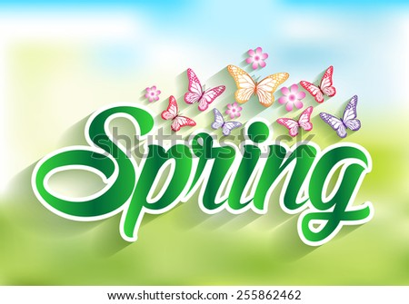 Spring Word Paper Cut with Flowers & Butterflies. Vector Illustration - stock vector