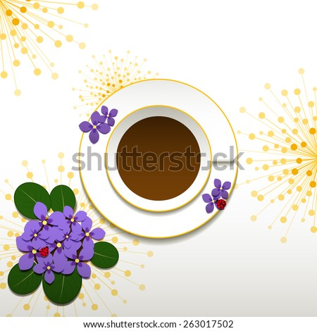 Springtime African Violet and Cup of Coffee - stock vector
