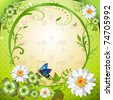 Springtime background with flowers, frame and butterflies - stock vector