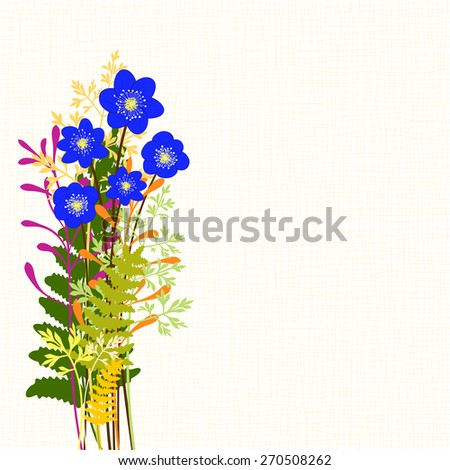 Springtime Blue Hepatica Nobilis with Colorful Wild Grass Background - stock vector