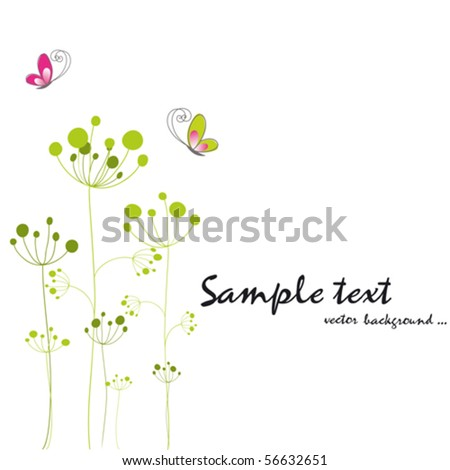Springtime colorful butterfly floral greeting card - stock vector