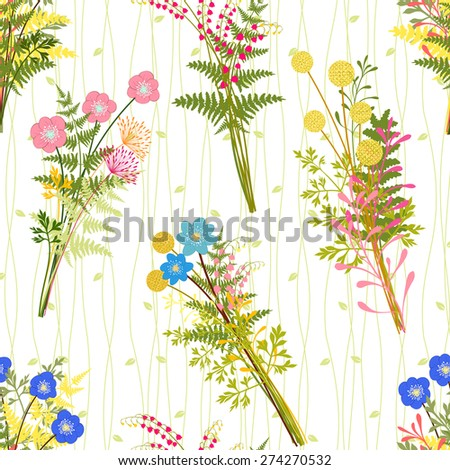 Springtime Colorful Flower with Wild Grass Pattern Background - stock vector