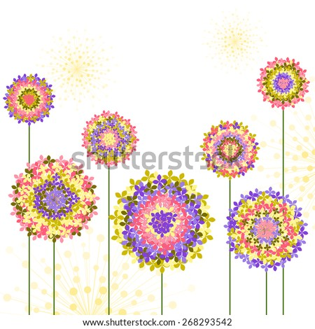 Springtime Colorful Hydrangea Flower Background - stock vector