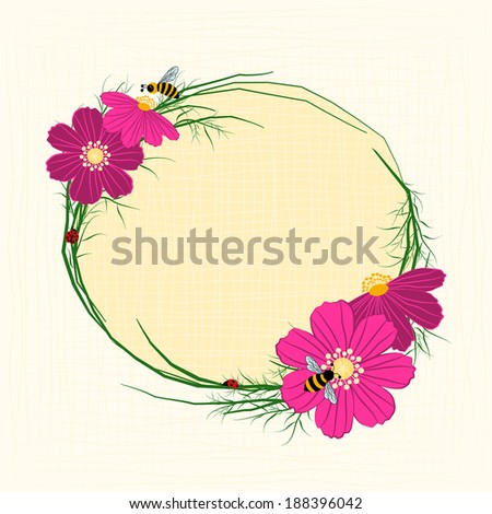 Springtime Cosmos Flower with Bees Background - stock vector