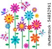 Springtime flowers and butterflies, vector illustration - stock photo