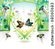 Springtime love with butterflies, vector illustration - stock vector