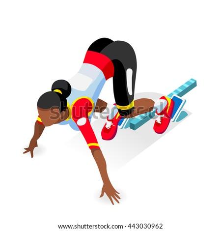 Sprinter Runner Athlete at Starting Line Athletics Race Start 2016 Summer Games Icon Set.3D Flat Isometric Sport of Athletics Runner Athlete at Starting Blocks. Olympics Sport Infographic Vector Image - stock vector