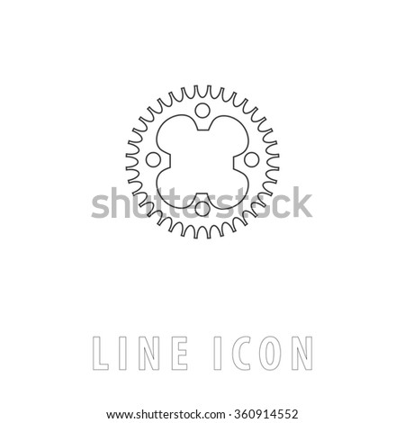 Sprockets Outline simple vector icon on white background. Line pictogram with text  - stock vector