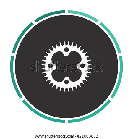 Sprockets Simple flat white vector pictogram on black circle. Illustration icon - stock vector
