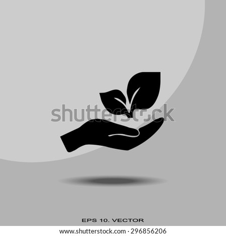 sprout in a hand of environmental protection - stock vector