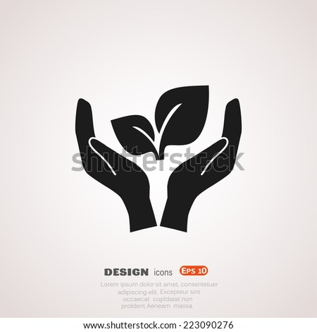 sprout in a hand sign of environmental protection, web icon. vector design - stock vector